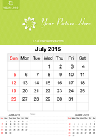 July 2015 Calendar Template Vector Free by 123freevectors