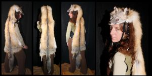 GIANT Golden Island Fox Headdress by lupagreenwolf