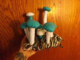 Teal Top Felt Mushrooms by lovechairmanmeow