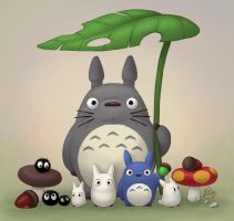 Totoro and Friends by LuigiL