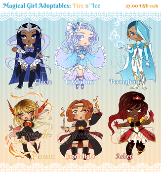 Magical Girl Adopts - Fire n' Ice [sold!] by Beedalee-Art
