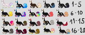 a TON of adoptables by real-Slender-girl