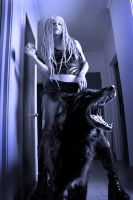 Goth Girl and Guard Dog by DavidStrange