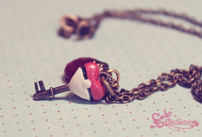 Pokeball HeartKey Necklace by WaterGleam
