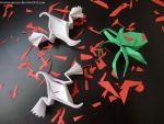 Origami ghosts and spider by OrigamiPieces
