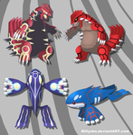 Groudon, Kyogre, Primal Groudon and Primal Kyogre by Millyoko