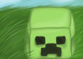 Creeper Plushie Painting by Potates-Chan