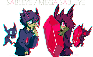 sableye and mega sableye by VI0LYNCE