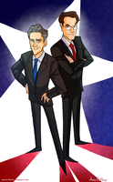 Stewart and Colbert by aerettberg