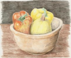 Peppers and Bowl (2010) by M-J-Gagne