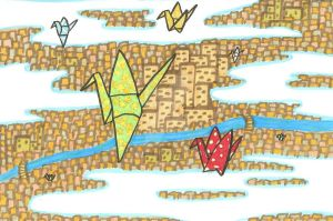 paper cranes in the sky by Tash15