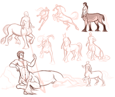 Centaur Sketch Dump by SoldierYena