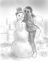 Truffle built a snowman by AlloyRabbit