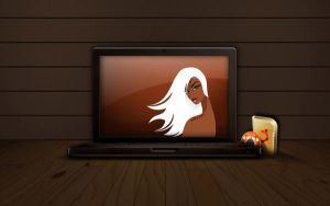 Laptop-vector girl by alkore31