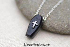 Black Coffin Necklace by MonsterBrandCrafts