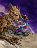 Rocket + Groot by seraphimon83