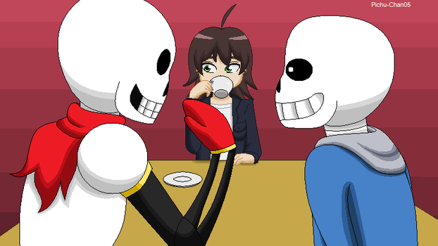 Coffee conversation with skeleton brothers by Pichu-Chan05