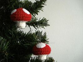 Toadstool Mushroom Ornaments by MoonYen