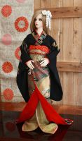 BJD kimono, Complete Set of Black and Golden by InarisansCrafts