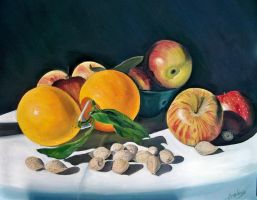 Still life oranges,apples and almonds by cristineny