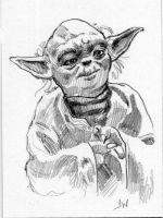 Yoda Sketch Card ACEO by Stungeon