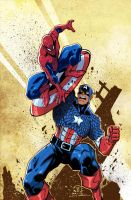 CAPTAIN AMERICA vs SPIDER-MAN colors by JoeyVazquez