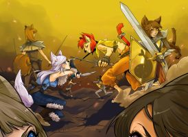 Battle of Canines and Felines by KuroiChoucho