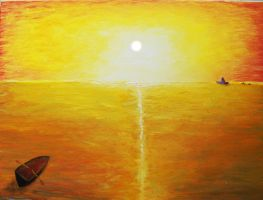 Rowing in the sun by oiltocanvas