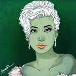 Lady Gaga cartoonized #1 (Green) by hiding-paparazzi