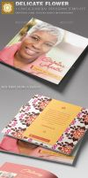 Delicate Flower Funeral Program Template by loswl