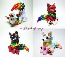 Rainbow Wolf Puppies by SweetMayDreams