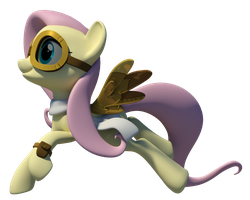 Steampunk Fluttershy 3D Model by Clawed-Nyasu