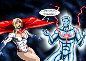 Power Girl and Captain Atom - A bit of help ? by adamantis