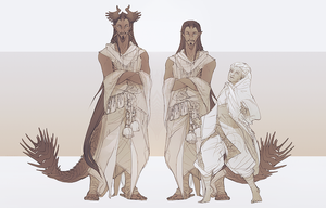 Siamun and his wife   sketches by IrisDesert
