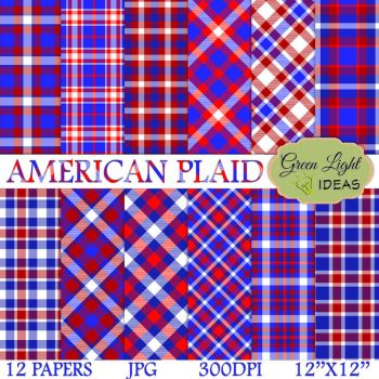 4th of July Plaid Digital Papers by GreenLightIdeasGLI