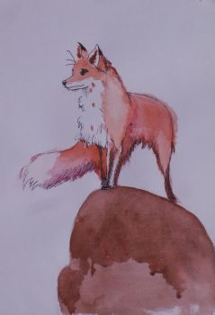 Watchful eye (fox watercolour) by BeeTeaDubs