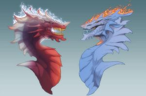 Ice Firedragon and Fire Icedragon by magmi