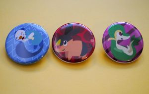 Unova Starters Buttons by radtastical