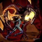 Samus Vs. Ridley by Aku-Kairu