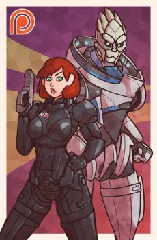 Shepard and Garrus - Mass Effect by Ruff-n-Tumble