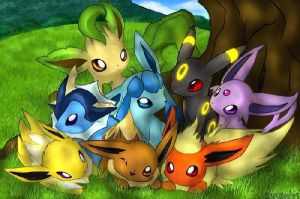 Eevee and Eeveelutions by JuneBug7