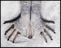 Diahann Lace Fingerless Gloves by ZenAndCoffee