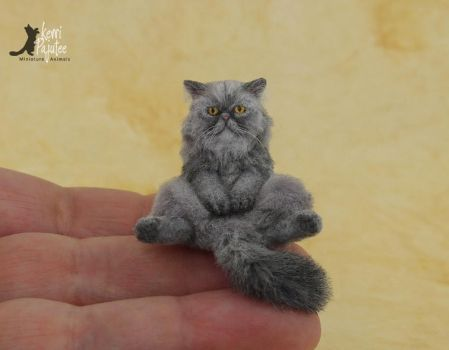Miniature Persian Cat Sculpture by Pajutee