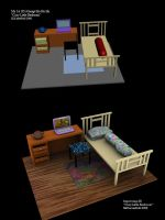 3D Bedroom art comparasion by ILICarrieDoll