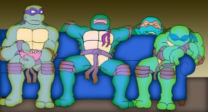 TMNT watching a horror movie by Tigerfog