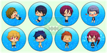 Free! Iwatobi Swim Club - Buttons Set (Version 2) by reincarnationz