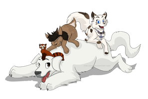 Polar bear dog pile! by Waterbender-Jay