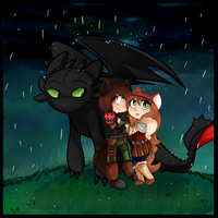 Commission - Dragons and Drizzles by MimiMarieT
