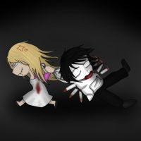 Smiling Mary and Jeff the Killer by IvyDarkRose