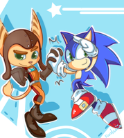 .:Sonic and Ratchet:. comm by Fumuu